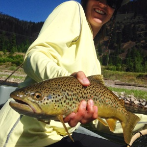 This brown trout was more than willing to come up from the deep for Jayme Erickson's dry fly, though the anticipation of watching his slow eat almost got the better of her. Hold on tight and set it right, and another healthy fish to the net.